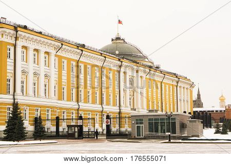 Senate Palace on the territory of the Moscow Kremlin built in classical style in Moscow