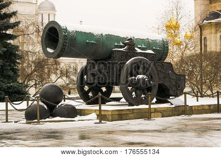 Tsar Cannon - a monument of Russian artillery and foundry art on Cathedral Square on the territory of the Moscow Kremlin in Moscow