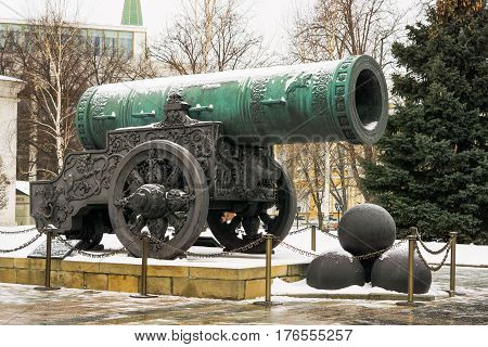 Tsar Cannon - a monument of Russian artillery and foundry art is located on the territory of the Moscow Kremlin in the Russian capital in Moscow