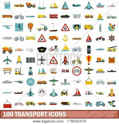 100 transport icons set in flat style for any design vector illustration