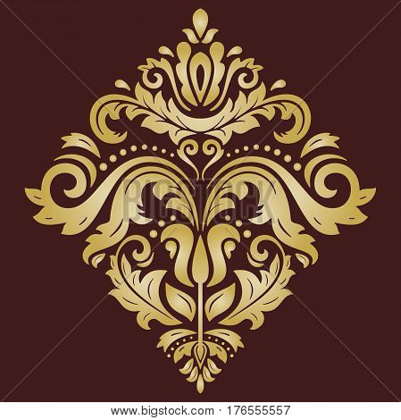 Elegant golden square ornament in the style of barogue. Abstract traditional pattern with oriental elements