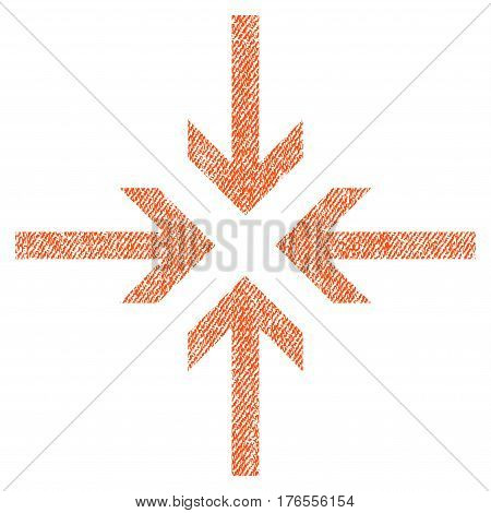 Reduce Arrows vector textured icon for overlay watermark stamps. Fabric orange vectorized texture. Symbol with dirty design. Rubber seal stamp with fiber textile structure.
