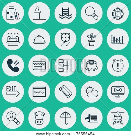 Set Of 25 Universal Editable Icons. Can Be Used For Web, Mobile And App Design. Includes Elements Such As Basin Ladder, Spectator, Dance Club And More.