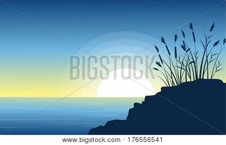 Beauty scenery lake with coarse grass silhouettes vector art