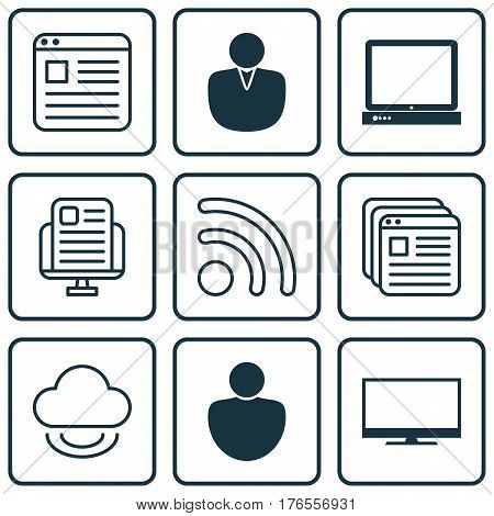 Set Of 9 Online Connection Icons. Includes Human, PC, Display And Other Symbols. Beautiful Design Elements.
