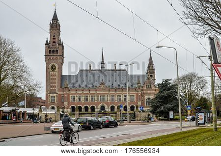 Hague, Netherlands - March 23, 2016: The Peace Palace, Seat of the International Court of Justice, view on March 23th 2016., in the Hague (Den Haag), Netherlands (Holland)