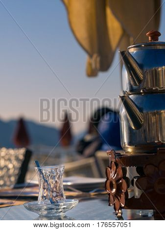 Turkish Tea Glass With Tea Pot