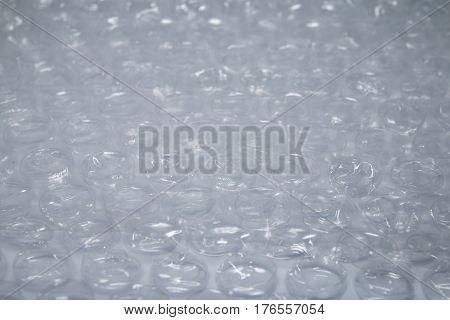 Plastic bubble wrap background texture. Macro shot.