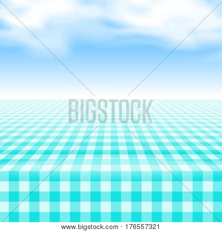 Empty picnic table covered with checkered gingham tablecloth. Clear blue sky background. Summer picnic background for product presentation Vector illustration. Turquoise blue gingham pattern.