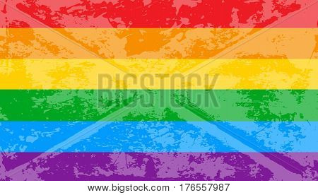 Striped rainbow texture gay pride flag lgbt community. Vector symbol gay-pride. Symbol grunge-design style design element for flyers or banners.