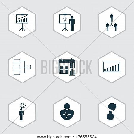 Set Of 9 Management Icons. Includes Report Demonstration, Opinion Analysis, Personal Character And Other Symbols. Beautiful Design Elements.