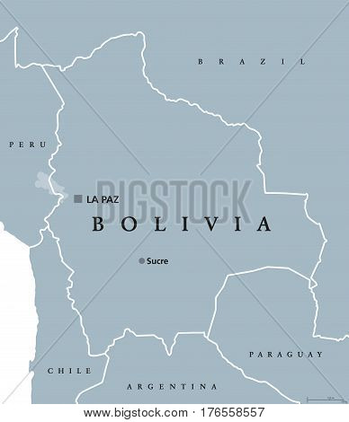 Bolivia political map with capital Sucre and La Paz, national borders and neighbors. Plurinational state and country in South America. Gray illustration isolated over white. English labeling. Vector.