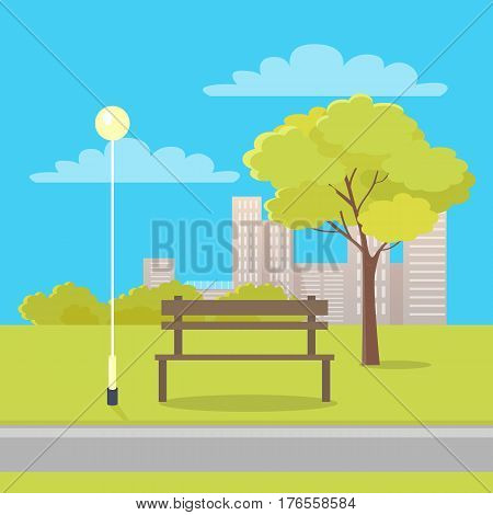 Sunny day in city park. Wooden bench near street lantern and green tree with city buildings in background flat vector. Peaceful place for rest in square illustration for urban infrastructure concepts