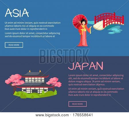 Set of Asia and Japan web banners. Geisha with umbrella near bridge and pagoda in cherry bloom flat vector illustrations. Horizontal concept with Asia related symbols for travel company landing page