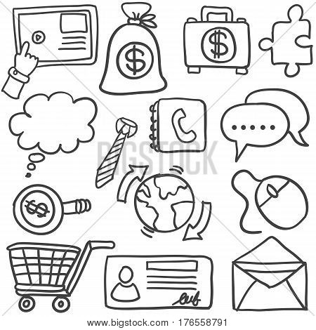 Doodle of object business vector art collection stock