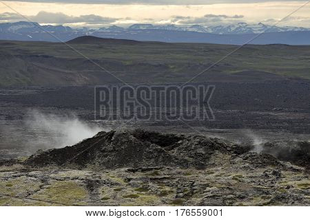 Geothermal Area in the Krafla Volcanic Region Iceland Smoking Fields of Volcanic Lava.