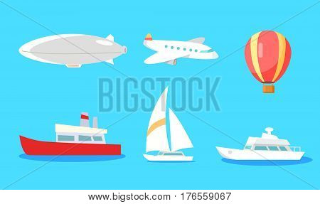 Means of transportation for flying and for water vector collection on blue background. White airship and passenger plane, yellow-red balloon, white and red ship, light yacht signs in flat style
