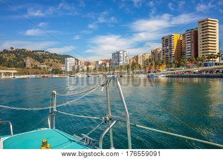 Ships moored in malaga harbor. Malaga andalusia Spain