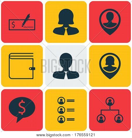 Set Of 9 Hr Icons. Includes Wallet, Business Woman, Pin Employee And Other Symbols. Beautiful Design Elements.
