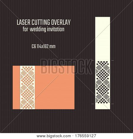 DIY laser cutting overlay. Wedding die cut template. Cutout silhouette card. Scrapbook carved paperwork. Vector Saint Valentine invitation.