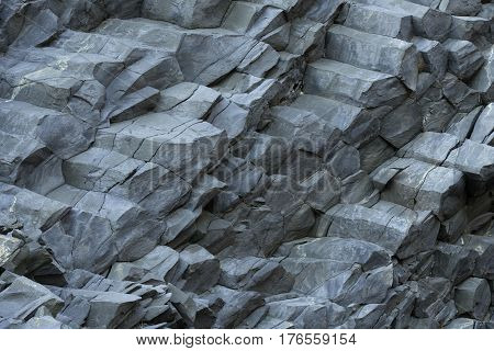 Reynisfjara Beach Volcanic Basalt Coloumn Formations in southern Iceland