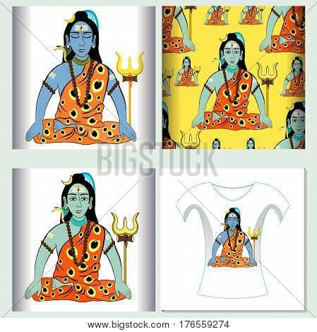 Set For T-shirt Design Seamless Pattern Shiva Mahadev India With A Trident.  Vector Illustration