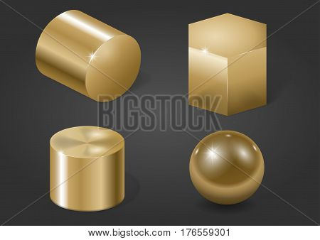 Set of different gold metal shapes. Vector graphics
