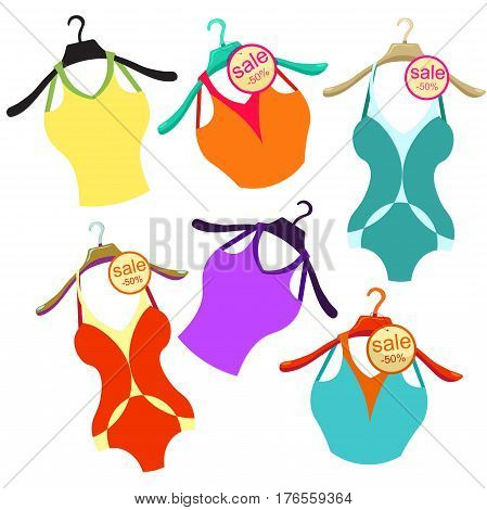 Set Of Coat Hanger With A Bathing Suit, A Blue Shirt. Vector Illustration