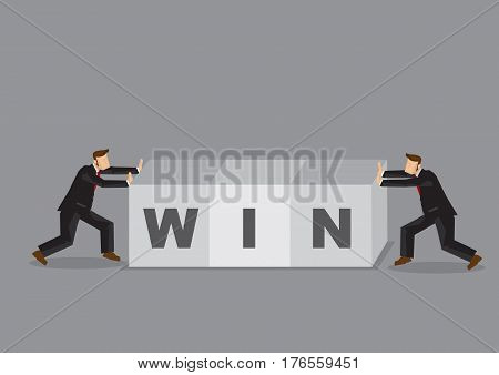 Business professionals pushing alphabet blocks that spell WIN. Creative cartoon vector illustration on concept for working together at work to push for a win.