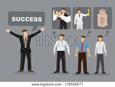 People have different ideas and definition for success. Cartoon vector illustration for concept on different meaning for success for different people.