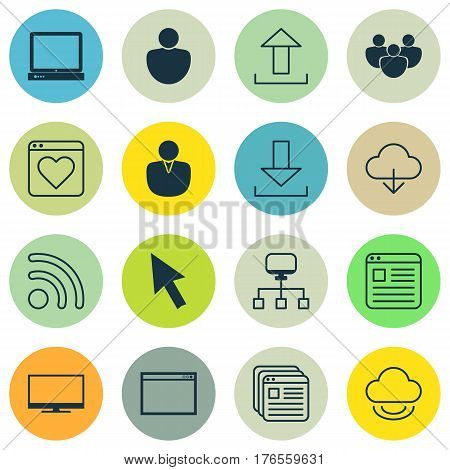 Set Of 16 World Wide Web Icons. Includes Local Connection, Team, Send Data And Other Symbols. Beautiful Design Elements.