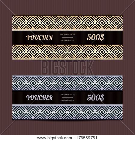 Gift voucher with greek design. Vector template for coupon or discount card. Tickets with meander ornament. Sales layouts.