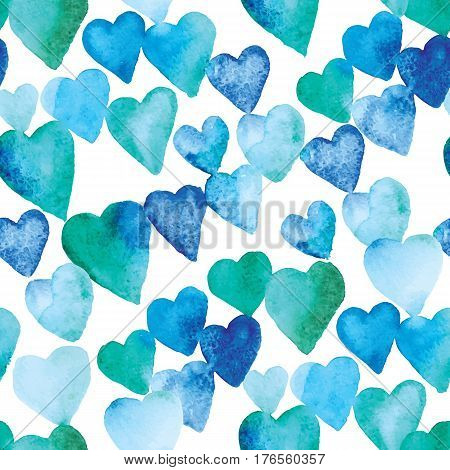 watercolor pattern of hearts. up of blue and green hearts of varying intensity and tone. The elements are arranged diagonally. The colors are mixed hearts.