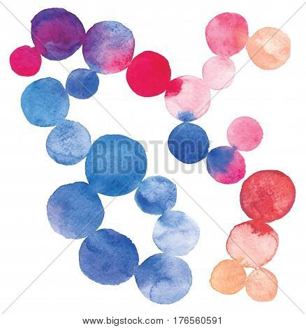 The composition of watercolor circles.It is made up of colorful circles of varying intensity and tone. The elements are arranged randomly. Color circles blended.