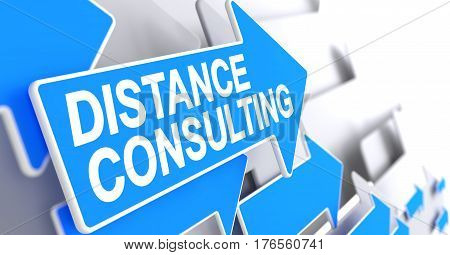 Distance Consulting - Blue Cursor with a Message Indicates the Direction of Movement. Distance Consulting, Label on Blue Cursor. 3D.