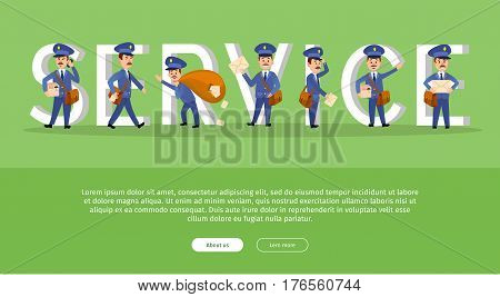 Parcel conceptual web banner with cartoon postman characters. Funny postal couriers delivering letter and parcel flat vector illustration. Horizontal concept with mailman for mail service landing page