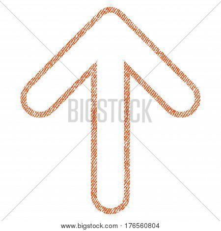 Rounded Arrow Up vector textured icon for overlay watermark stamps. Fabric orange vectorized texture. Symbol with dirty design. Rubber seal stamp with fiber textile structure.