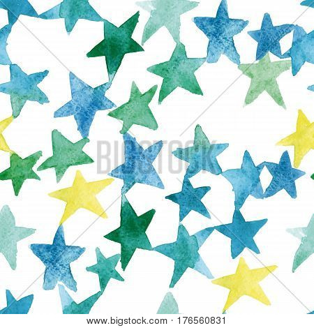 watercolor pattern of stars. up of blue and green stars of varying intensity and tone. The elements are arranged diagonally. The colors are mixed stars.