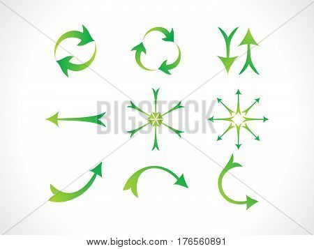 abstract artistic green arrows icon vector illustration