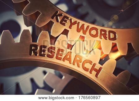 Keyword Research Golden Cogwheels. Keyword Research on the Mechanism of Golden Gears with Lens Flare. 3D Rendering.