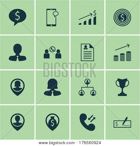 Set Of 16 Hr Icons. Includes Bank Payment, Business Deal, Manager And Other Symbols. Beautiful Design Elements.