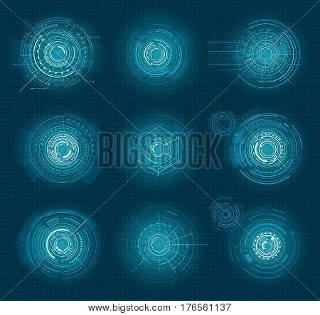 Set of blue infographic elements interface virtual isolated on blue with points. Head-up display elements for the web and app. Vector illustration of futuristic user interface in cartoon style.