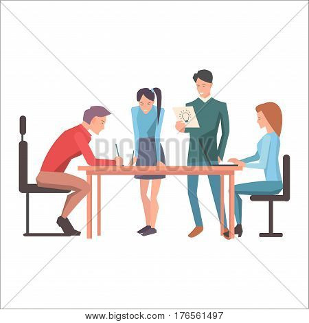 Launching of new idea in startup flat design isolated on white. Worker pondering on creation of new concept of company. Managers standing and two guys sitting at desk. Vector illustration web banner.