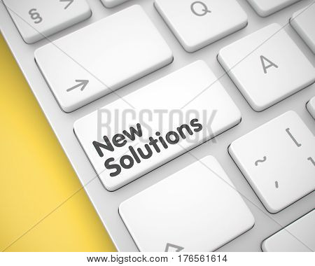 Online Service Concept. White Button on the Slim Aluminum Keyboard. Online Service Concept with Laptop Enter White Button on the Keyboard: New Solutions. 3D.