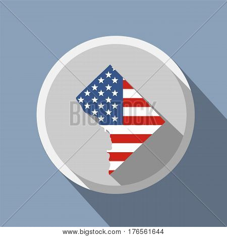 Map of the U.S. District of Columbia. American flag
