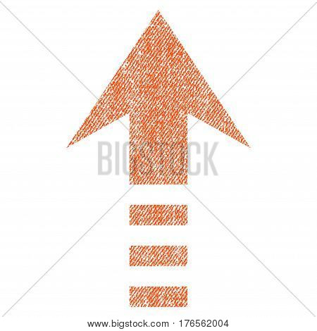 Send Up vector textured icon for overlay watermark stamps. Fabric orange vectorized texture. Symbol with dust design. Rubber seal stamp with fiber textile structure.