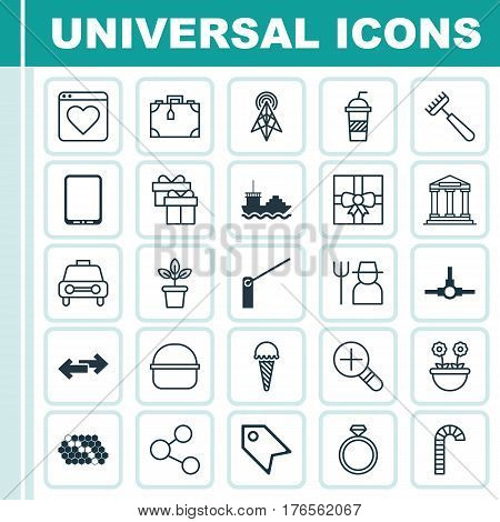 Set Of 25 Universal Editable Icons. Can Be Used For Web, Mobile And App Design. Includes Elements Such As Flowerpot, Roadblock, Suitcase And More.