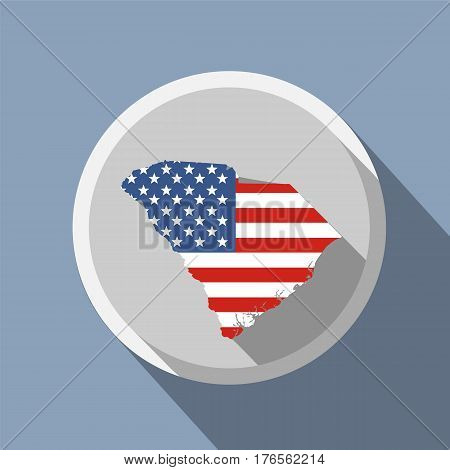 Map of the U.S. state of South Carolina. American flag