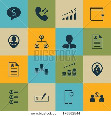 Set Of 16 Human Resources Icons. Includes Successful Investment, Job Applicants, Manager And Other Symbols. Beautiful Design Elements.