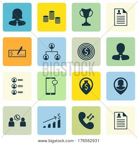 Set Of 16 Human Resources Icons. Includes Pin Employee, Job Applicants, Female Application And Other Symbols. Beautiful Design Elements.